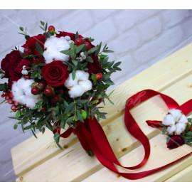 Арт. 0353. Букет невесты. Роза 50см 5шт, куст.роза 4шт, гиперикум 4, хлопок 4, бруния 2, эвкалипт 2